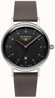Bauhaus Ремешок мужской серый кожаный итальянский | черный циферблат 2142-2
