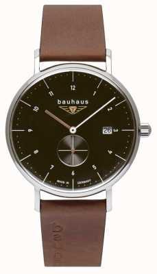 Bauhaus Мужской коричневый кожаный ремешок из итальянской кожи | черный циферблат 2132-2