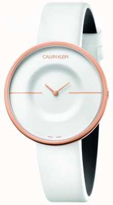 Calvin Klein | женские | мания | белый кожаный ремешок | корпус из розового золота | KAG236L2