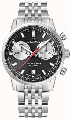 Delma Континентальный хронограф | стальной браслет | черный циферблат 41701.704.6.031