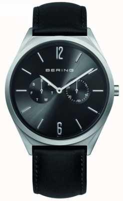 Bering Классическая коллекция | черный кожаный ремешок | черный циферблат 17140-402