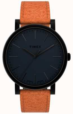 Timex Оригиналы 42мм | черный циферблат | коричневый кожаный ремешок TW2U05800