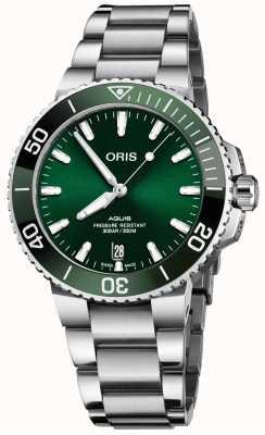 ORIS Aquis date 41,5 мм браслет из нержавеющей стали с зеленым циферблатом 01 733 7766 4157-07 8 22 05PEB