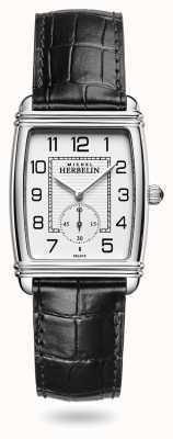 Michel Herbelin Женские | арт-деко | серебряный циферблат | черный кожаный ремешок 10638/22