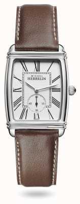 Michel Herbelin Женские | арт-деко | серебряный циферблат | коричневый кожаный ремешок 10638/08MA