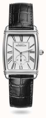 Michel Herbelin Женские | арт-деко | серебряный циферблат | черный кожаный циферблат 10638/08