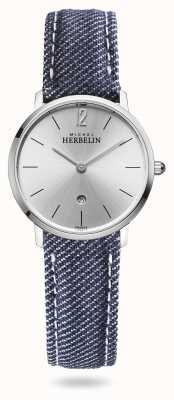 Michel Herbelin Город | синий джинсовый ремешок | серебряный циферблат 16915/11JN