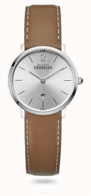 Michel Herbelin Город | серебряный циферблат | коричневый кожаный ремешок 16915/11GO