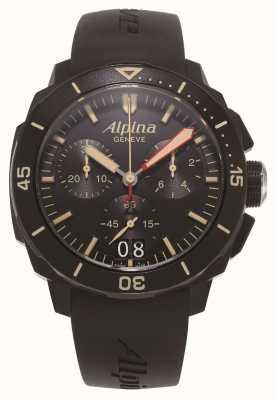 Alpina Seastrong diver 300 | хронограф | черный силиконовый ремешок AL-372LBBG4FBV6