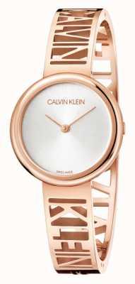 Calvin Klein Мания | сталь pvd из розового золота | серебряный циферблат | размер m KBK2M616