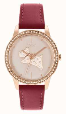 Radley Женский красный кожаный ремешок | циферблат из розового золота с мотивом собаки RY21184
