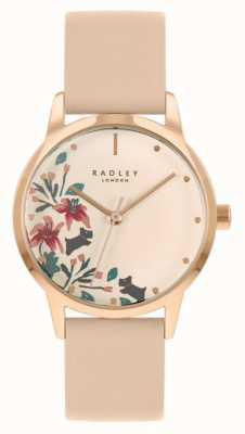 Radley Женский кожаный ремешок телесного цвета / светло-розового цвета | кремовый цветочный циферблат RY21220A