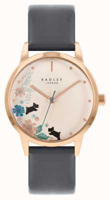 Radley Женский черный кожаный ремешок | кремовый цветочный циферблат RY21262A