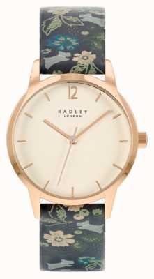 Radley Женский черный кожаный ремешок с цветочным принтом | белый циферблат RY21234A