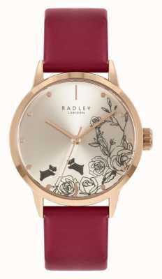 Radley | женские | красный кожаный ремешок | серебряный циферблат | RY21244A
