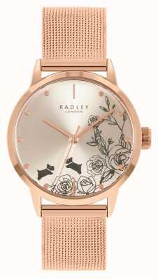 Radley Женский браслет из сетки из розового золота | серебряный цветочный циферблат RY4582A