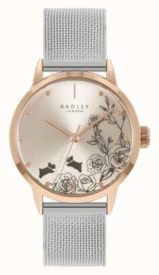 Radley Женский браслет из нержавеющей стали из серебра с сеткой | серебряный цветочный циферблат RY4581A