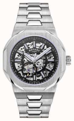 Rotary Мужские | регент | автоматический | черный циферблат в стиле скелетон | браслет из нержавеющей стали GB05415/04