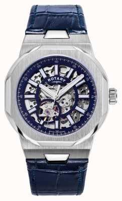 Rotary Мужские | регент | автоматический | синий циферблат в стиле скелетон | синий кожаный ремешок GS05415/05