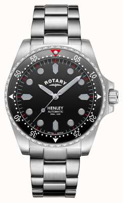 Rotary Мужские | Хенли | автоматический | черный циферблат | браслет из нержавеющей стали GB05136/04