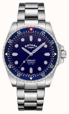 Rotary Мужские | Хенли | автоматический | синий циферблат | браслет из нержавеющей стали GB05136/05
