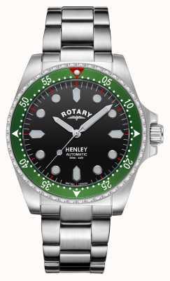 Rotary Мужские | Хенли | автоматический | черный циферблат | браслет из нержавеющей стали GB05136/71