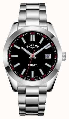 Rotary Мужские | Хенли | черный циферблат | браслет из нержавеющей стали GB05180/04