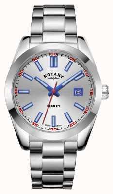 Rotary Мужские | Хенли | серебряный циферблат | браслет из нержавеющей стали GB05180/59