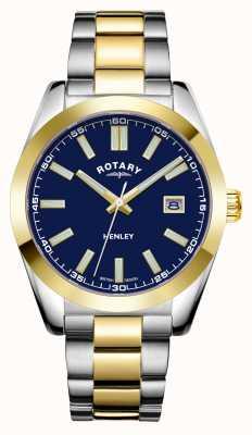 Rotary Мужские | Хенли | синий циферблат | двухцветный браслет из нержавеющей стали GB05181/05