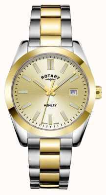 Rotary Женские | Хенли | циферблат шампанского | двухцветный браслет из нержавеющей стали LB05181/03