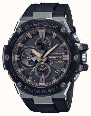 Casio G-сталь роскошный милитари | ремешок из черной смолы | черный циферблат | блютуз GST-B100GA-1AER