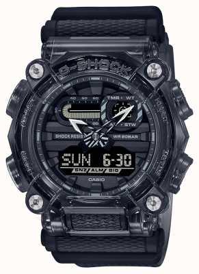 Casio G-шок | скелет серой серии | темно-серый ремешок из прозрачной пластмассы | серый циферблат GA-900SKE-8AER