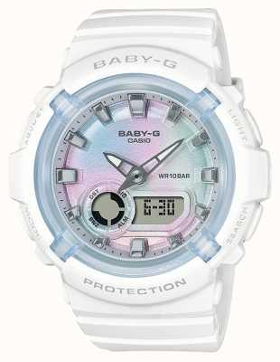 Casio Baby-g | ремешок из белой смолы | разноцветный циферблат BGA-280-7AER