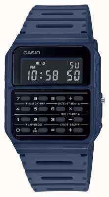 Casio Ретро часы-калькулятор | ремешок из синей смолы | черный циферблат CA-53WF-2BEF