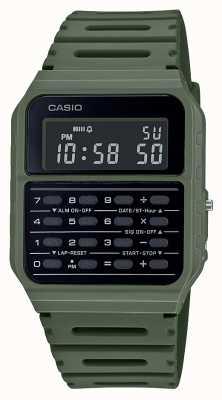 Casio Ретро часы-калькулятор | ремешок из зеленой смолы | черный циферблат CA-53WF-3BEF