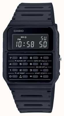 Casio Ретро часы-калькулятор | ремешок из черной смолы | черный циферблат CA-53WF-1BEF