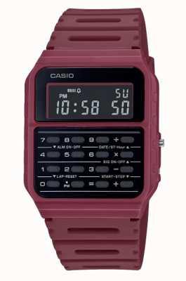 Casio Ретро часы-калькулятор | ремешок из смолы темно-красного цвета | черный циферблат CA-53WF-4BEF