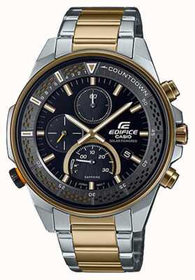 Casio Тонкий хронограф с сапфировым стеклом Edifice   двухцветный стальной браслет   черный циферблат EFS-S590SG-1AVUEF