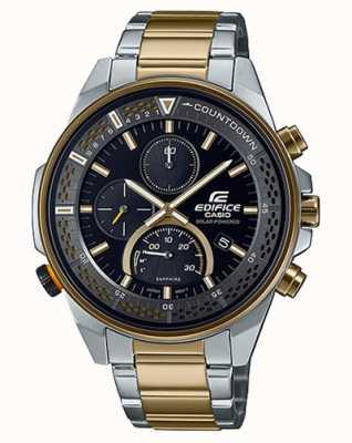 Casio Тонкий хронограф с сапфировым стеклом Edifice | двухцветный стальной браслет | черный циферблат EFS-S590SG-1AVUEF