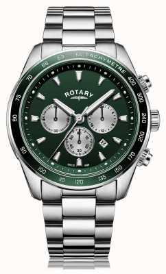 Rotary Мужские | Хенли | хронограф | зеленый циферблат | браслет из нержавеющей стали GB05109/24