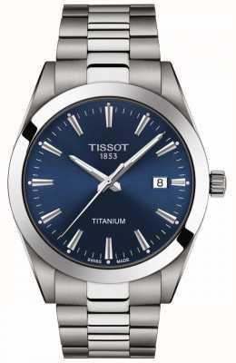 Tissot Господа титан | браслет из титана серого / серебряного цвета | синий циферблат T1274104404100