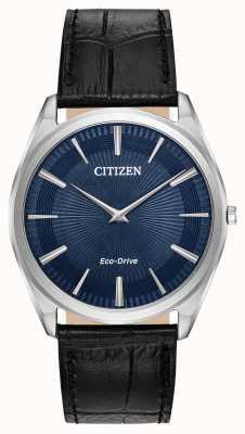 Citizen Стилет | мужской экологический драйв | черный кожаный ремешок | синий циферблат AR3070-04L