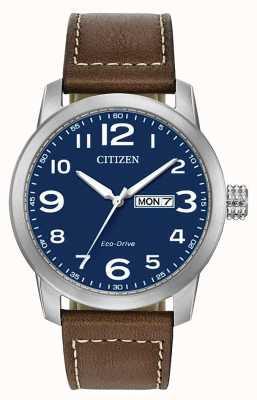 Citizen Мужской кожаный ремешок eco-drive wr100 коричневого цвета BM8471-19L