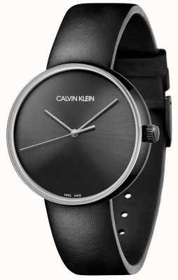 Calvin Klein Женский черный кожаный ремешок | черный циферблат KBL234C1