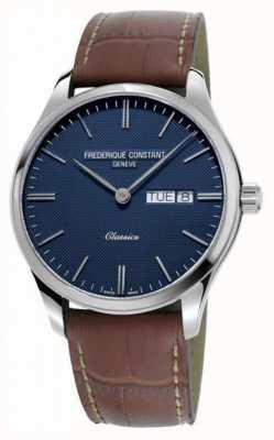 Frederique Constant Классический мужской кварц   коричневый кожаный ремешок   синий циферблат FC-225NT5B6