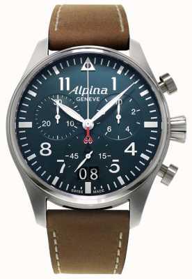 Alpina Умные мужские хронографы для пилотов | коричневый кожаный ремешок | синий циферблат AL-372N4S6