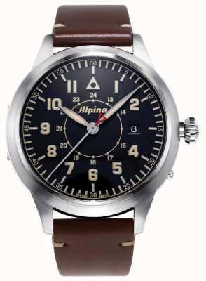 Alpina ООО «Смартимер пилотное наследие» | коричневый кожаный ремешок | синий циферблат AL-525BBG4SH6