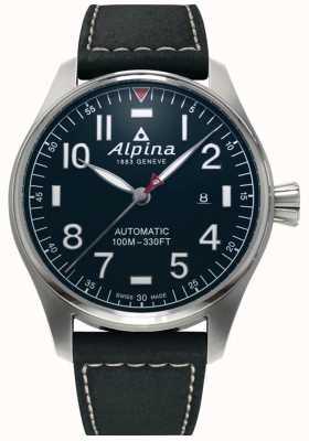 Alpina Мужской умный пилот-авто | черный кожаный ремешок | темно-синий циферблат AL-525NN4S6