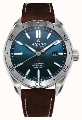 Alpina Мужские альпинисты 4 автомат | коричневый кожаный ремешок | синий циферблат AL-525NS5AQ6