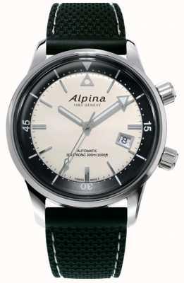 Alpina Наследие водолазов-морских гребцов | черный силиконовый ремешок | белый циферблат AL-525S4H6